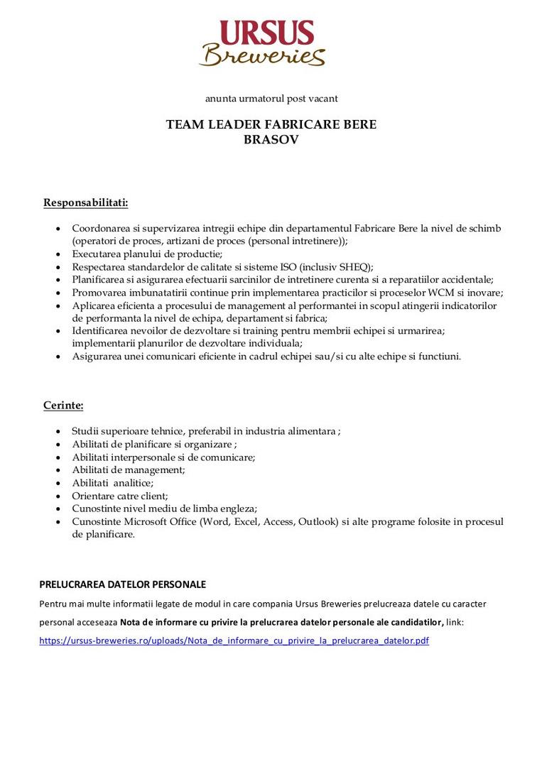 Team Leader Fabricare Bere _ Brasov