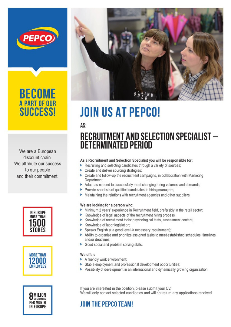Recruitment and Selection Specialist - Determinated Period