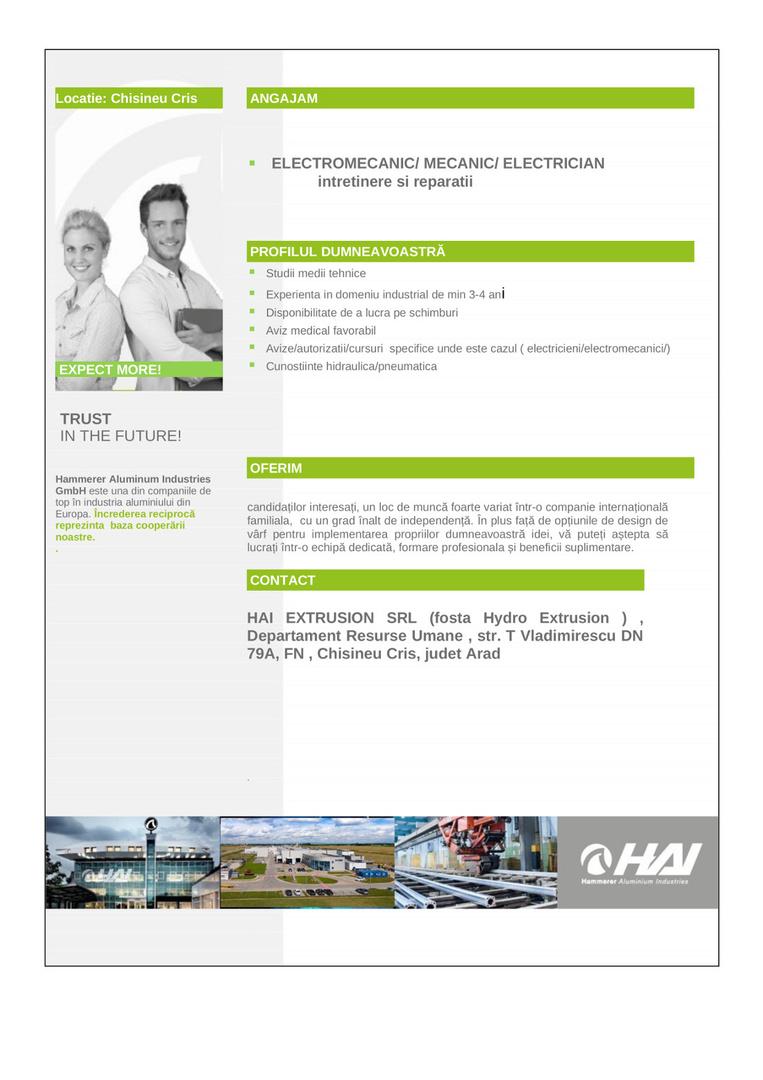 Anunt angajare HAI EXTRUSION SRL_electromecanic