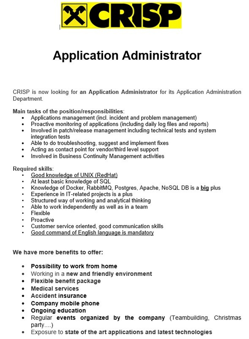 IT Officer - Application Administrator-ComplianceSupport_2020
