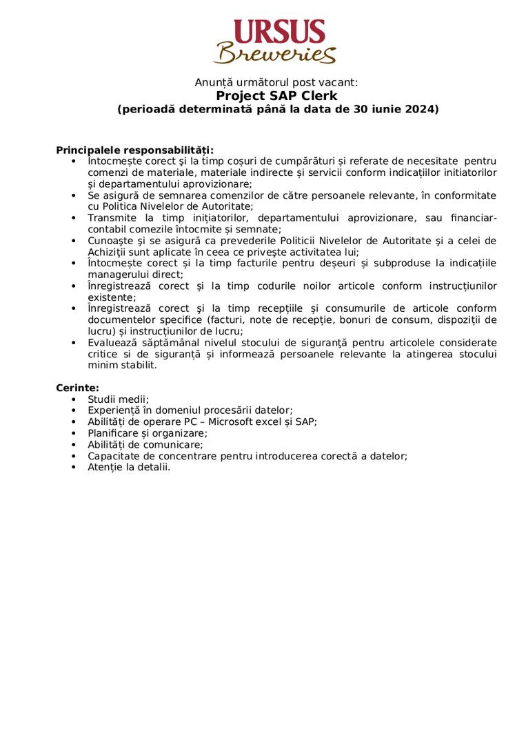 Project SAP Clerk _ Brașov