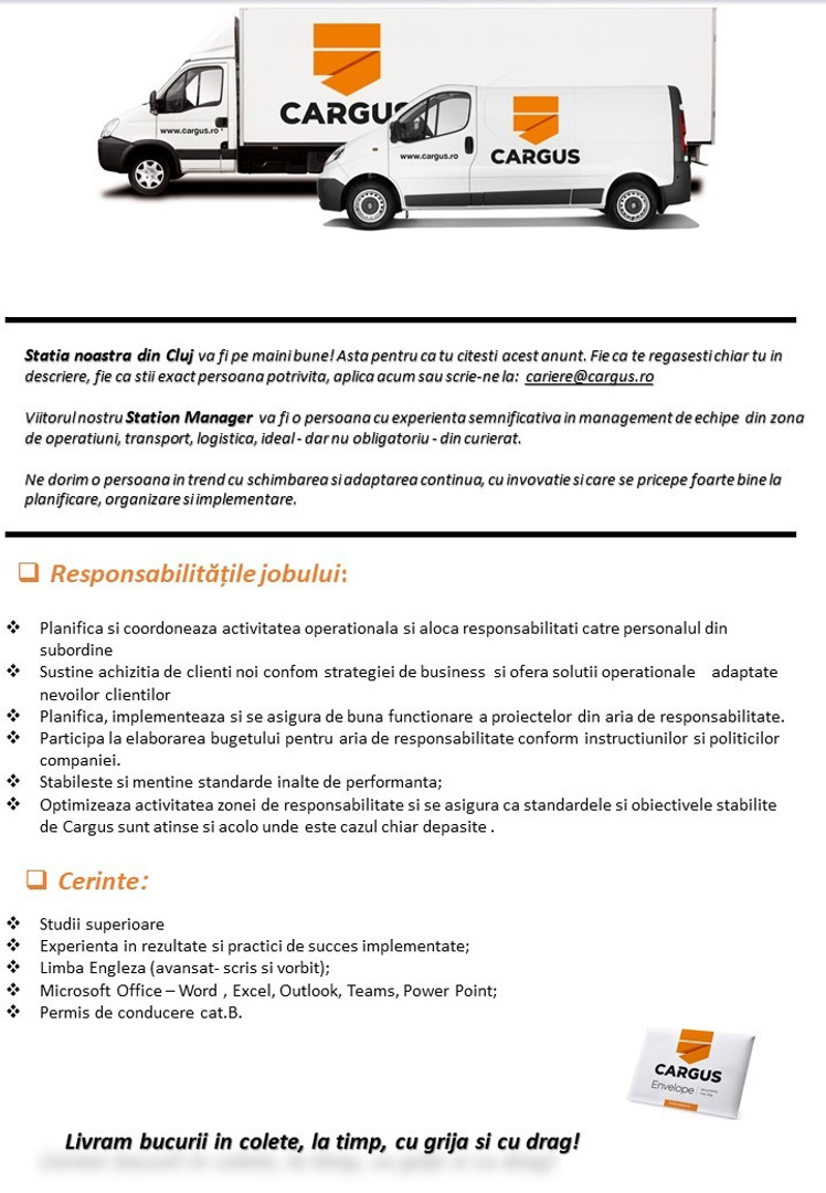 Anunt angajare extern St Manager Cluj