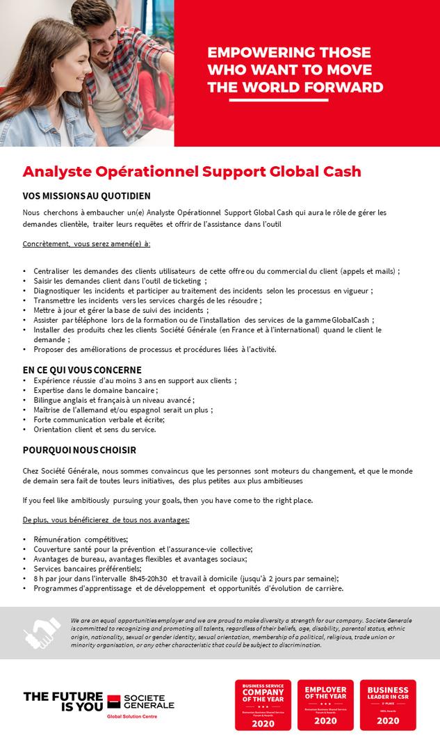 Analyste Opérationnel Support Global Cash Global Cash