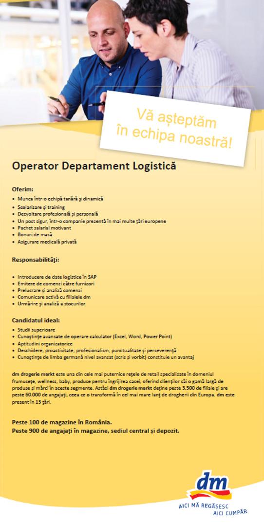 operator logistica ianuarie 2021
