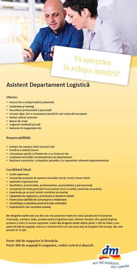 Asistent Departament Logistica Besschafung