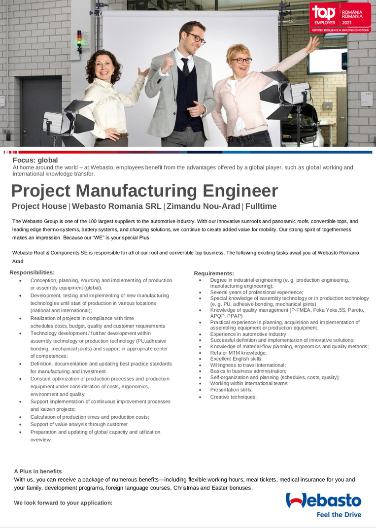 Project Manufacturing Engineer