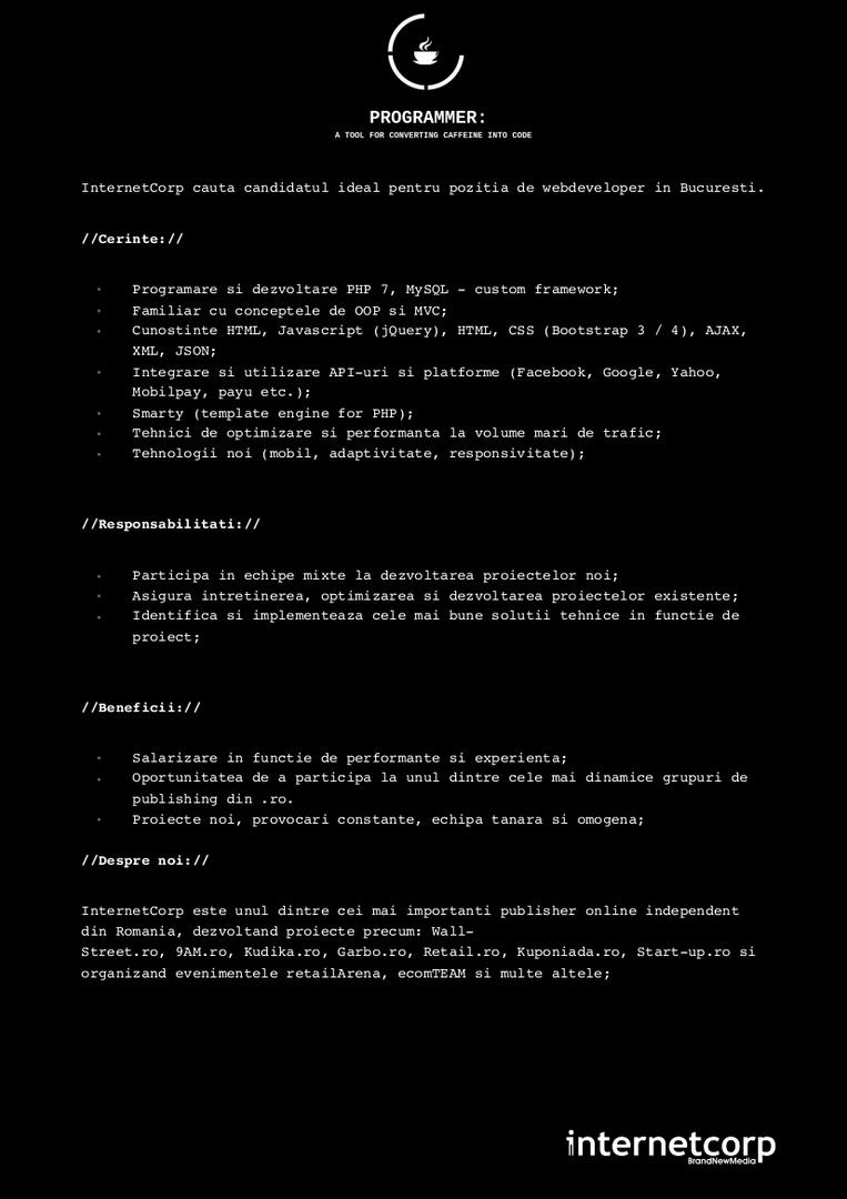 Anunt Angajare Programator WEB